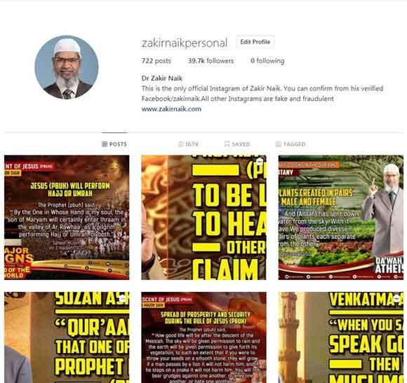 Dr Zakir Naik Instagram
