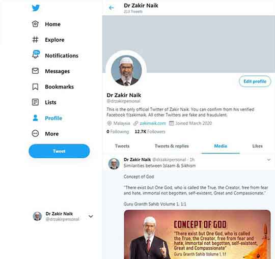 Dr Zakir Naik Twitter