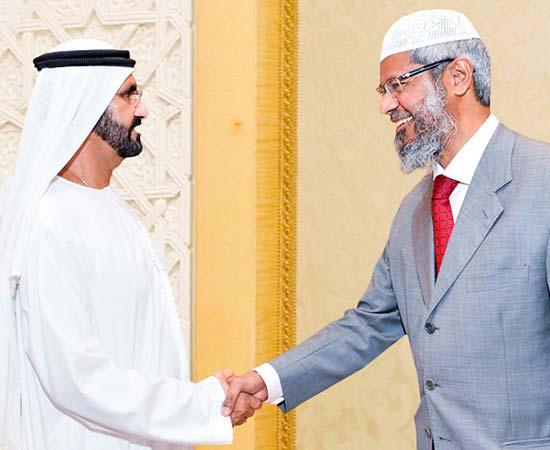 Dr Zakir Naik being welcomed by Shaikh Mohammed bin Rashid Al Maktoum