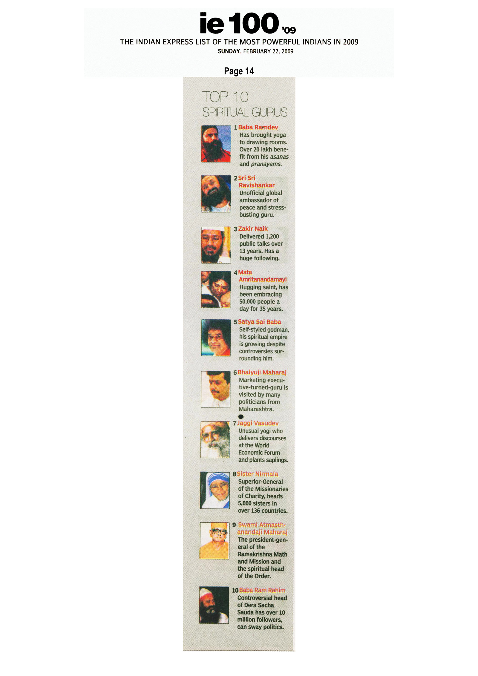 Listed in 'Top 10 Spritual Gurus' – 2009